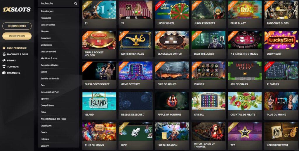 Les Jeux sur 1x Slots Casino